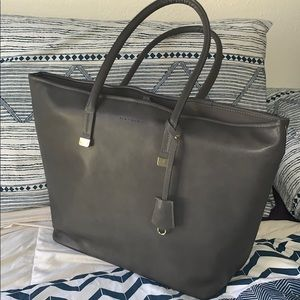 Grey faux leather laptop tote bag